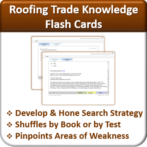 High Quality Flash Cards (Roofing Trade Knowledge)